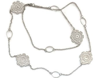 Long Filigree Medallion Necklace in Silver Tone, Flapper Style