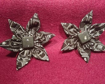 Two handmade black and white hair clips cotton fabric flowers with keyboard button accent