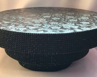 TALL CAKE STAND Round Or Square Three Tiers Of Black Rhinestones 13 Colors 4 Sizes