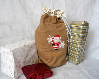 Personalised Embroidered Jolly Santa Sack