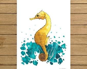 Sea Horse, Tropical Ocean, Watercolor Illustration, Giclée Print, A3 A4 or A5 size