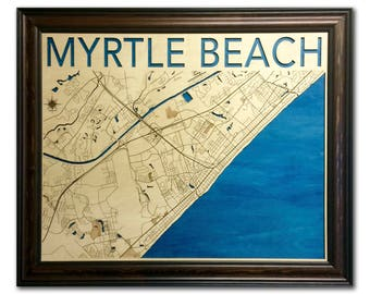 Myrtle Beach Wood Engraved 2D City Map - 24x30 - Laser Cut Map Decor