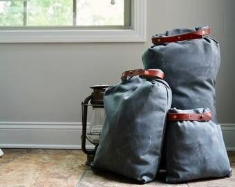 Waxed Canvas Stuff Sack / Roll top / Travel bag