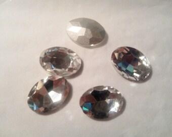 5 rhinestone oval Crystal 18 x 13 mm. -6 027