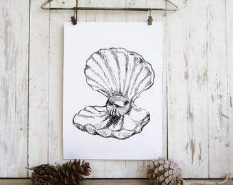 Sea shell sketch, Black and white pearl print, Printable wall art, A4 Art print, Dorm decor, Hostess gift