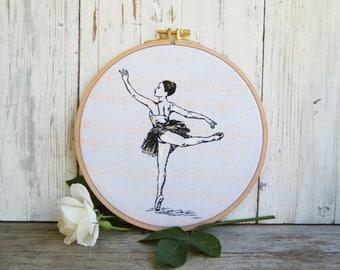 Hoop Art, Ballerina Print, Dancer Print, Ballet Art, Fabric Wall Art, Embriodery Hoops, Ballet Teacher Gift, Nursery Decor, Gift For Girl