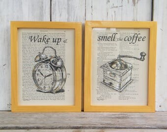 Framed Quote Prints, Coffee Bar Sig, Retro Poster, Book Art, wake Up & Smell The Coffee, Kitchen Wall Signs, Farmhouse Decor