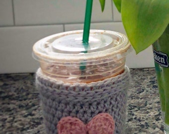 Iced coffee cup sleeve. Coffee cup sleeve. Coffee accessories. Handmade. Crochet. Pink and  grey.