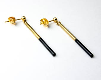Earrings gold and black
