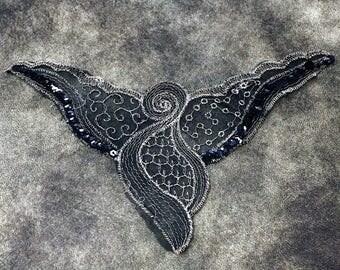Black Sequins Angel Pattern Sew On Applique