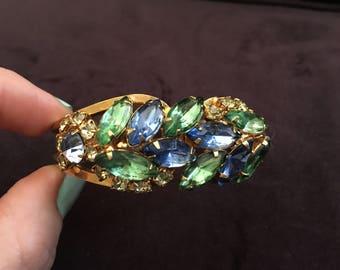 Juliana D&E Green, Yellow and Blue Rhinestone Clamper Bracelet 1227