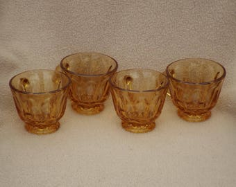 Vintage Anchor Hocking Glass Teacups or Coffee Cups; Fairfield Amber