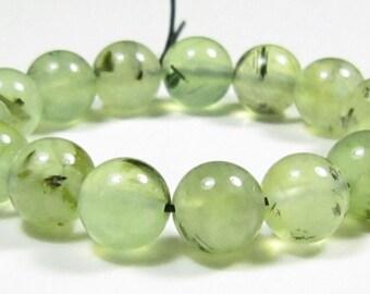 8.5mm Beautiful High Clarity Prehnite Round Bead - 15 beads - #PG7046