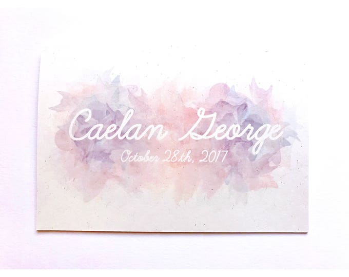Featured listing image: Baby card, personalised, watercolour, typography, handmade