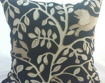 "Navy Blue  Robert Allen Cushion Cover. Navy and Ivory Design. Fits a 20"" x 20"" pillow insert"
