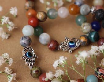 Hand of Fatima Diffuser Bracelet, Hamsa Mala Bead Bracelet, Zen, Boho