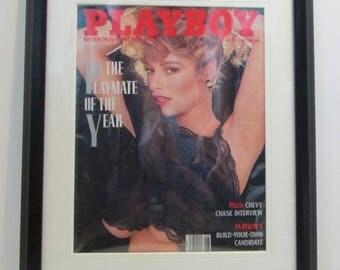 Vintage Playboy Magazine Cover Matted Framed : June 1988 - India Allen