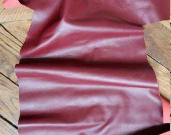 Plate of burgundy leather