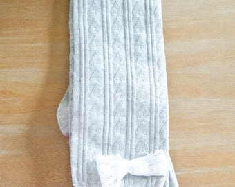 Light Gray and Lace Boot Socks/Gift for Teen/Gift for Friend/Cotton Blend/Comfortable/Gift for a Girl/Gray/Bow/White Lace