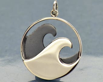 Sterling Silver, Double Wave Pendant, Wave Pendant, Wave Charm, Wave Jewelry, Ocean Pendant, Ocean Charm, Ocean Jewelry, By the Sea Charm