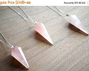 SALE Rose Quartz Pendulum Necklace- Crystal Healing Stone