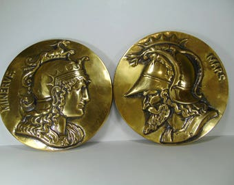 Vintage Brass Gladiator, Roman Soldier Wall Hanging, Wall Decor, Mars and Minerve, Set of 2 Plaques