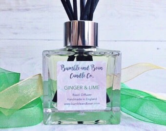 Ginger & Lime Reed Diffuser, Luxury Reed Diffuser, Scented Reed Diffuser, Glass Reed Diffuser