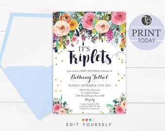 TRIPLETS Baby Shower Invitation, Instant Download, Printable Triplets Baby Shower Invitation, Triplets invitation, Floral Baby Shower, 0508