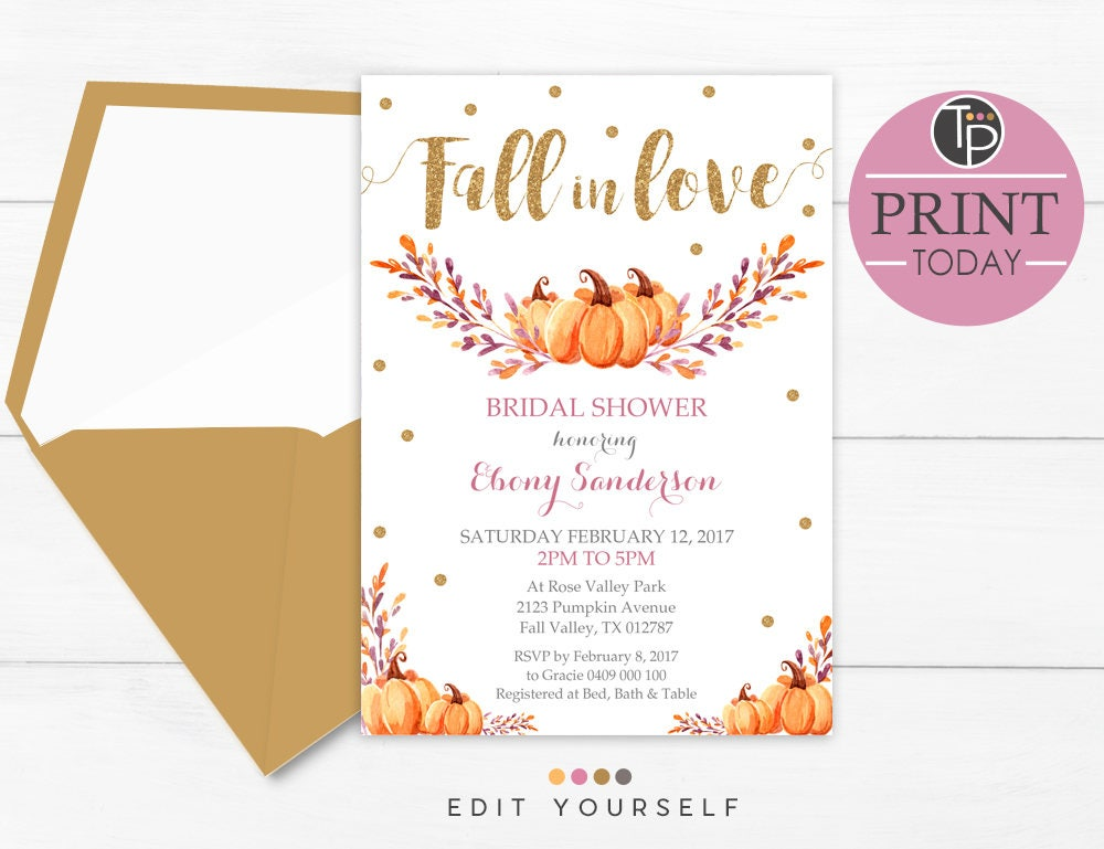 fall bridal shower invitations fall in love bridal shower pumpkin bridal shower fall
