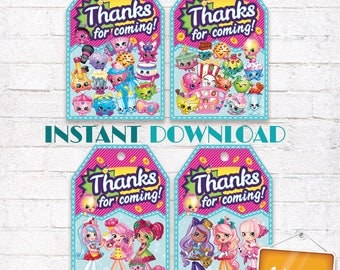Shopkins Favor Tags Shopkins Thank you Labels Shopkins Birthday Party matching Invitation Customized Digital File