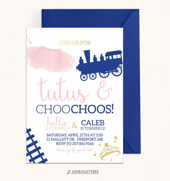 tutus choo choos birthday invitation digital train birthday