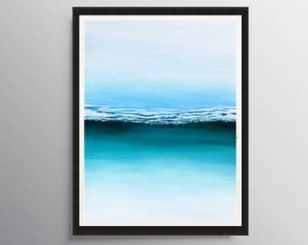 Abstract Art Print, Ocean Print, Seascape Print, Printable art, Fine art prints, Beach Painting, Giclee Print, Modern wall art, Monterey Bay
