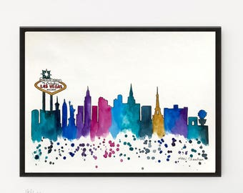 Las Vegas Skyline, City art, Vegas Print, Watercolor Painting, Illustration, Travel art, Modern Wall art, Skyline, Home Decor, Holiday Gift