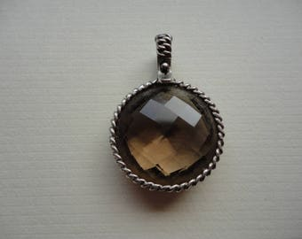 Sterling Necklace Pendant with Chocolate Colored Stone