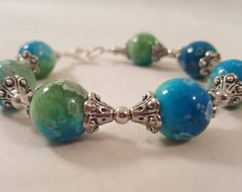 Blue & Green Painted Glass Bead Bracelet - Blue Bracelet - Green Bracelet - Silver Bracelet - Blue Jewelry - Green Jewelry - Blue - Green