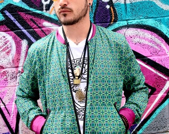 JACKFRUIT Jack-It (men & women sizes) - Bubble Green - Bomber Jacket Unisex Crazy Pattern Aztec Retro Festival Hippy Boho Fresh Prince Urban