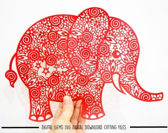 Zentangle Elephant paper cut svg / dxf / eps / files and pdf / png printable templates for hand cutting. Download. Commercial use ok.