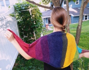 Hand Knit Color Block Shawl