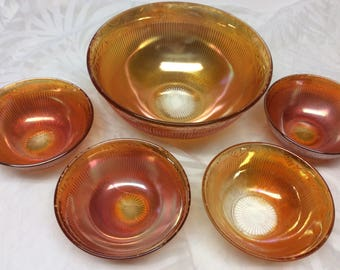"Imperial Glass Carnival Glass "" Prism & Daisy"" Master Berry Bowl and 4 Berry Bowls Marigold Iridescent 1930's"