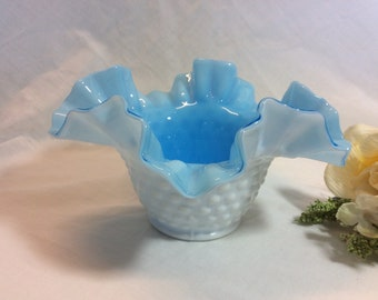 Vintage Fenton Glass Blue Cased Art Glass White Milk Glass Hobnail Bowl Double Crimped Ruffled Bowl !  Weddings! Showers! Birthdays !