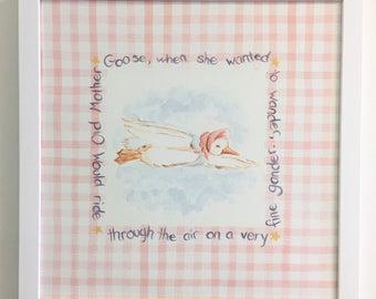 Mother Goose Print, Nursery Rhyme Print, Nursery Print, Mother Goose, Moon and stars,  Star print, Hey Diddle Diddle Print