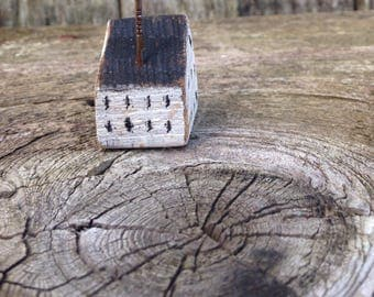 Tiny house rustic natural distressed reclaimed wood chimney ooak home miniature