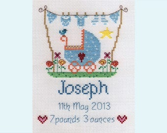 New Baby Boy or Girl Customisable Cross Stitch PATTERN or KIT