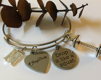 "Fitness #Juicy Booty ""Drop it like a Squat""Double Barbell Peresonalized Bangle Bracelet"" Affordable And Gift Wrapped"""