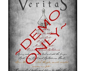 """Custom Witches' """"Veritas,"""" Truth Potion Spell Page"""