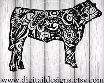 Zentangle Steer SVG - dxf - png - eps - ai - fcm - Cricut - Silhouette - Zentangle Cow SVG - Doodle Cow SVG