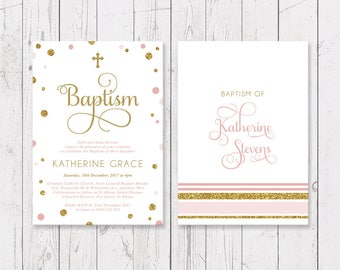 Gold Glitter Gold Christening or Baptism Invitation | Pink and Gold | Professionally Printed, Peach Perfect