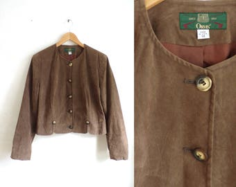 90s Orvis jacket brown soft textured microfiber jacket light button down jacket minimalist cropped jacket womens large