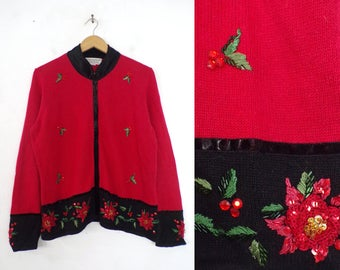 90s holiday cardigan sweater beaded holly leaves christmas sweater embroidered wreath zip up sweater velour trim womens jumper medium