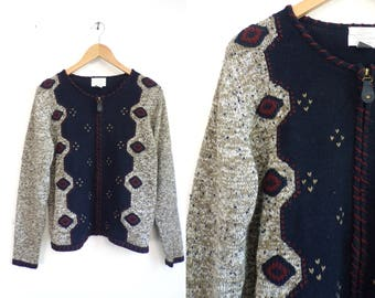 ikat cardigan sweater zip up speckled sweater knit southwestern sweater ramie cotton sweater embroidered crochet womens jumper small